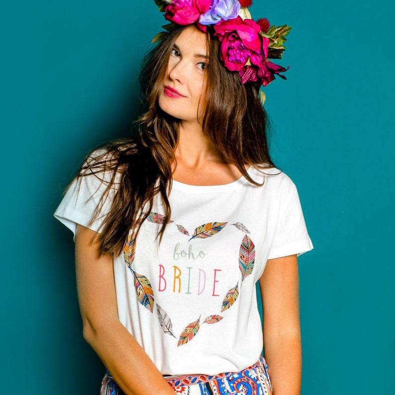 211869c0 Boho Bridet-shirt T-shirts Boho look bridal shower T-shirt | Etsy