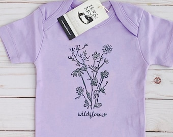 ORGANIC Little WILDFLOWER- Handprinted Boho Chic -Baby Bodysuit/Romper (Lilac Shirt)