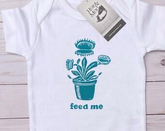 ORGANIC VENUS FLYTRAP- Monster Flower- Handprinted Funny Baby Bodysuit/Romper