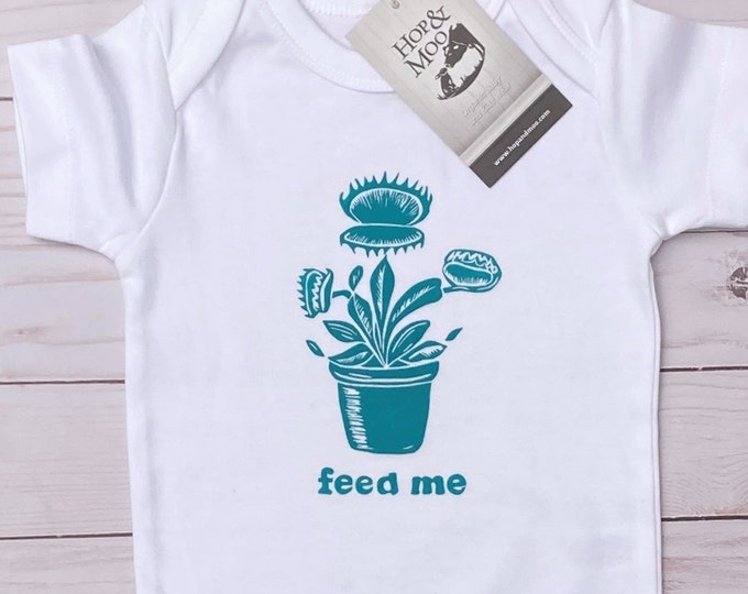 Featured listing image: ORGANIC VENUS FLYTRAP- Monster Flower- Handprinted Funny Baby Bodysuit/Romper