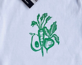 ORGANIC GARDEN VEGGIES - Vegetarian-Vegan-Herbivore-Farm- Locally Grown-Baby Bodysuit/Romper (White Shirt)