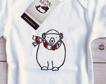 ORGANIC Canadian Animal POLAR BEAR Baby Bodysuit/Romper