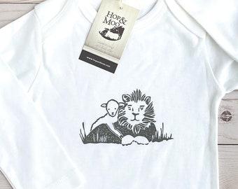 ORGANIC LION & LAMB Handprinted Christian Baby Bodysuit/Romper/Playsuit (White Shirt)