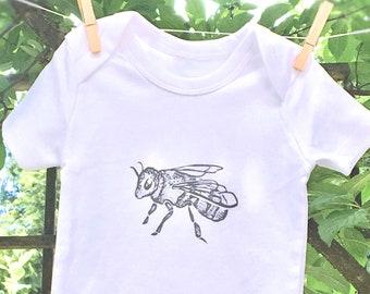 ORGANIC Honey BEE Hand Printed Baby Bodysuit