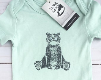 ORGANIC Quarantine Baby Bear - Baby Bodysuit (Green Shirt)