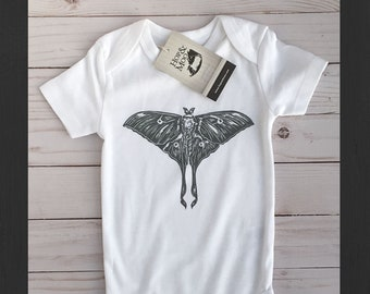 ORGANIC Luna MOTH - Hand Printed Baby Bodysuit Shirt