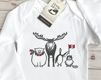 ORGANIC Canadian Animals Baby Bodysuit