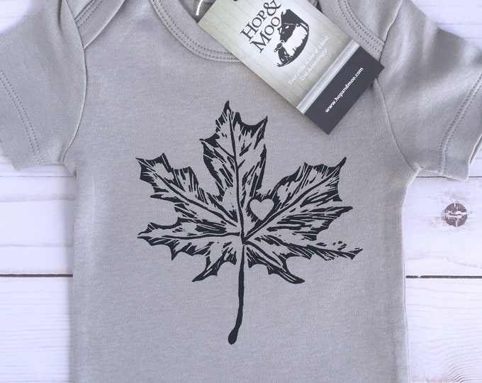 Featured listing image: ORGANIC MAPLE LEAF Canadian Baby Bodysuit (Grey Shirt)