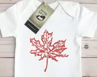 ORGANIC Canadian MAPLE LEAF Baby Bodysuit