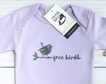 ORGANIC WREN- Free Bird -Handprinted Baby Bodysuit/Romper (lilac shirt)