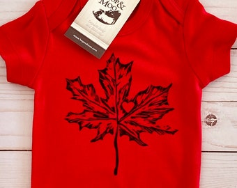 Canadian Baby Gift ORGANIC MAPLE LEAF Baby Bodysuit (Red Shirt)