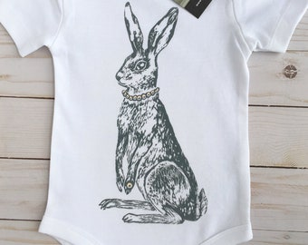 SAVOIR HARE- Unique ORGANIC Handprinted Baby Bodysuit, Baby Shower Gift, Baby Shirt, Easter Baby Outfit,  Boho Baby