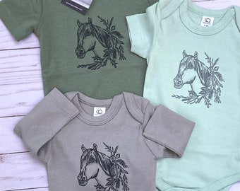 ORGANIC BOHO HORSE Baby Bodysuit/Romper/Shirt (Thyme Green Shirt)