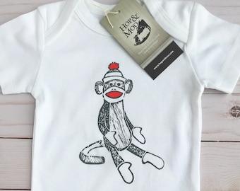 ORGANIC SOCK MONKEY Baby Bodysuit