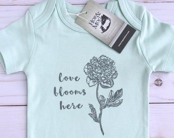 ORGANIC PEONY Flower Baby Bodysuit (Mint Green Shirt)