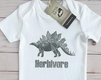 ORGANIC Herbivore Stegosaurus Baby Bodysuit (White Shirt)