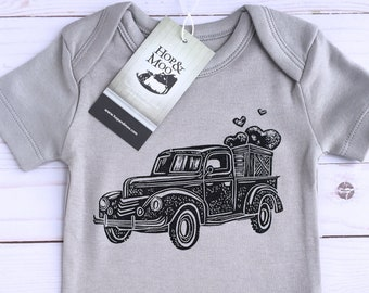 Vintage Pick Up Truck- (Grey Shirt) Organic Hand Printed Baby Bodysuit