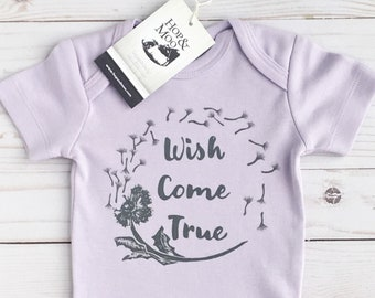ORGANIC Wish Come True- DANDELION- Handprinted Baby Bodysuit