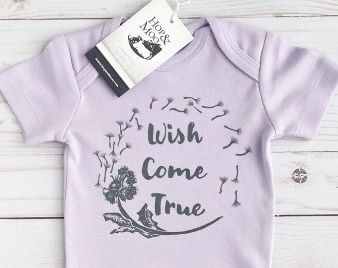Featured listing image: ORGANIC Wish Come True- DANDELION- Handprinted Baby Bodysuit