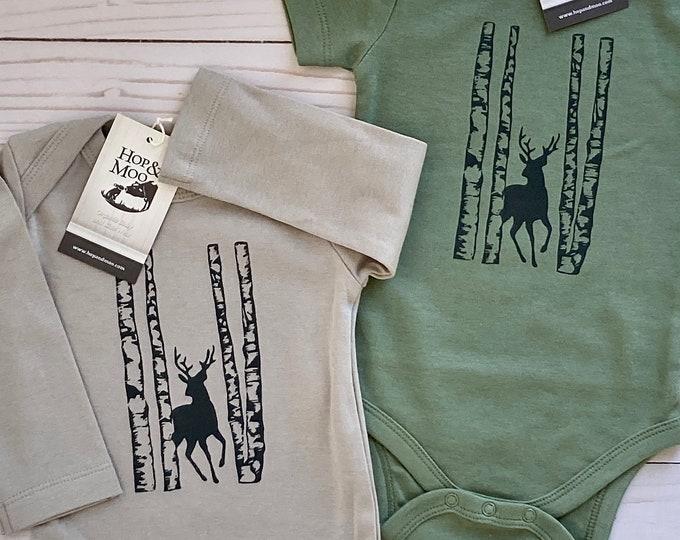 Featured listing image: ORGANIC WOODLAND DEER Baby Bodysuit/Romper/Shirt (Thyme Green Shirt)