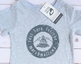 ORGANIC Baby/Kids T-shirt- CAMPING (Heather Grey Shirt)