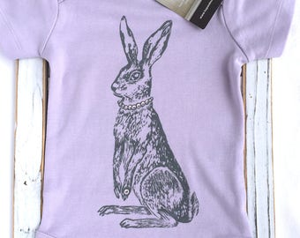 SAVOIR HARE (Lilac Shirt)- Unique ORGANIC Handprinted Baby Bodysuit, Baby Shower Gift, Baby Shirt, Easter Baby Outfit,  Boho Baby