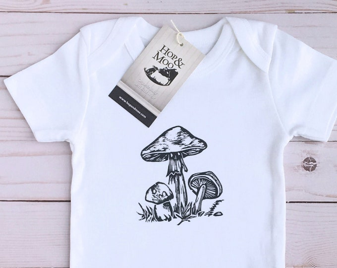 Featured listing image: ORGANIC Woodland MUSHROOMS - Hand Printed Baby Bodysuit