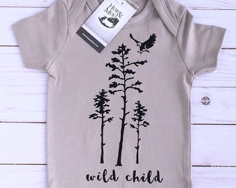 ORGANIC WILD CHILD Baby Bodysuit (Grey Shirt)