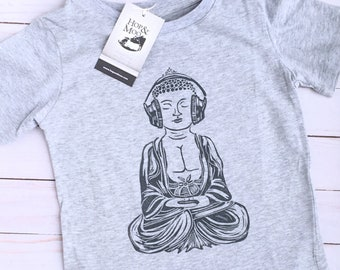 ORGANIC-  BUDDHA with Headphones- Hand Printed Baby/Kids T-shirt