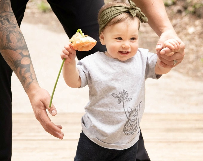 Featured listing image: ORGANIC Baby/Kids T-shirt -Mouse with Clover Blossom (Heather Grey Shirt)