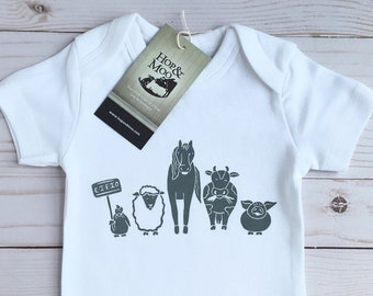 ORGANIC FARM Friends Baby Bodysuit or T-shirt, Kids Shirt, Boho Baby, Baby Gift, Handprinted