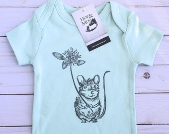 ORGANIC MOUSE with CLOVER Baby Bodysuit (Mint Green Shirt)