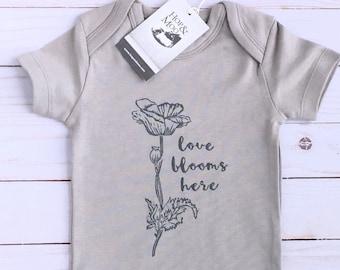 ORGANIC Poppy Flower Baby Bodysuit (Grey Shirt)