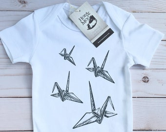 ORGANIC Paper Cranes ORIGAMI Baby Bodysuit