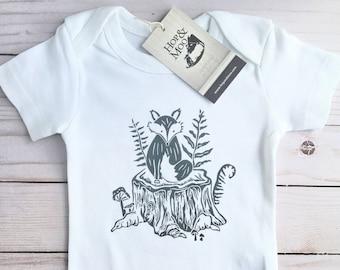 WOODLAND FOX-  Organic Hand Printed Baby Bodysuit