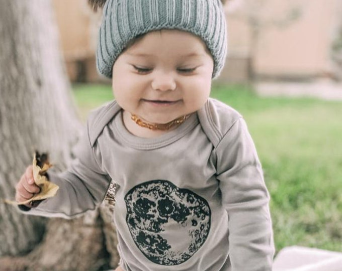 Featured listing image: ORGANIC Full MOON- Handprinted Baby Bodysuit (grey shirt)