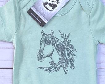 ORGANIC BOHO HORSE Baby Bodysuit/Romper/Shirt (Mint Green Shirt)