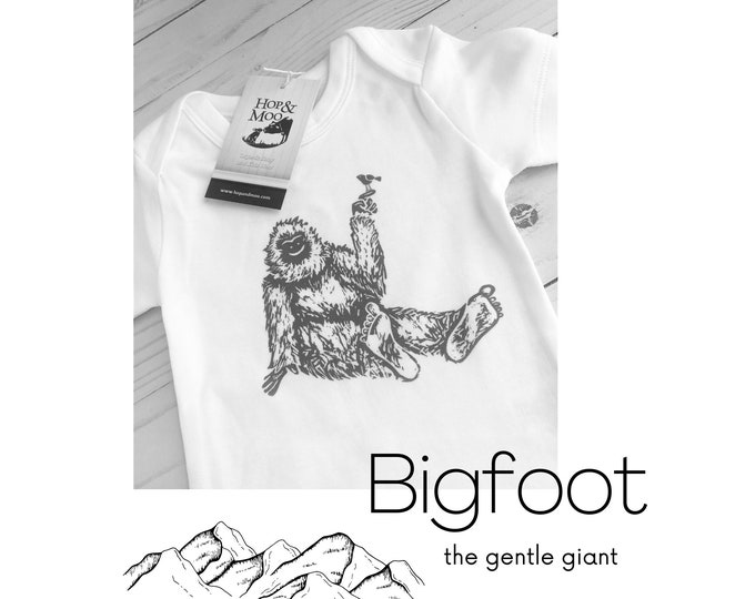 Featured listing image: ORGANIC BIGFOOT Baby Bodysuit or T-SHIRT