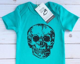 ORGANIC SKULL Baby Bodysuit (Aqua Shirt)
