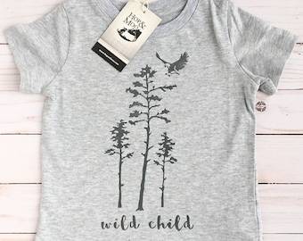 ORGANIC WILD CHILD - Baby/Kids Graphic T-shirt (Heather Grey Shirt)