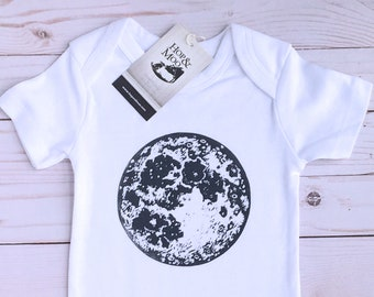 ORGANIC Full MOON- Handprinted Baby Bodysuit