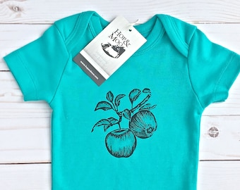 ORGANIC Harvest APPLES - Hand Printed Baby Bodysuit (Aqua Shirt)