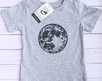ORGANIC Baby/Kids T-shirt- FULL MOON (Heather Grey Shirt)