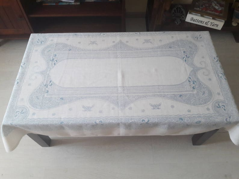 145 cm x 95 cm White and bue linen tablecloth soviet linen tablecloth tablecloth rectangle rustic table cloth flax tablecloth