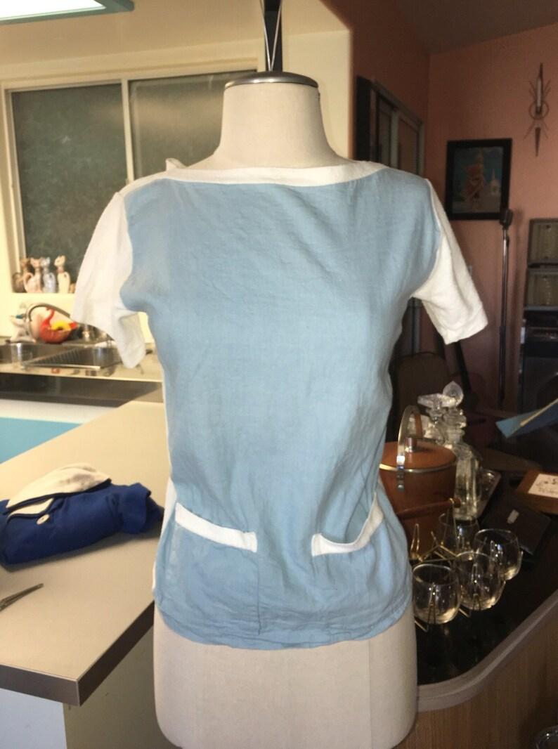 1950/'s Vintage Kaynee Regatta Cotton Yarn Top Blouse Blue White Terry Cloth