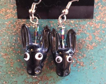 Donkey Mule burro earrings. Glass dangle.