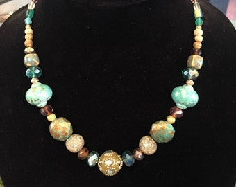 Crystal and ceramic necklace with smaller glass and stone beads