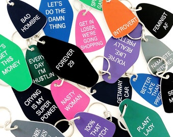 Lot of 20 assorted laser-engraved retro-style keychains