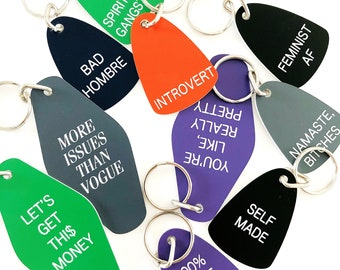 Lot of 10 assorted laser-engraved retro-style keychains