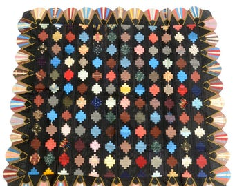 """Antique Victorian Edwardian Era Silk Hand Pieced Sewn Quilt Top Log Cabin Courthouse Steps Fan Pattern Wall Hanging 60"""" x 65"""""""